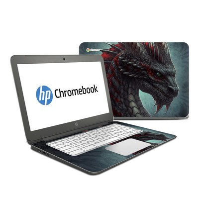 HP Chromebook 14 Skin - Black Dragon