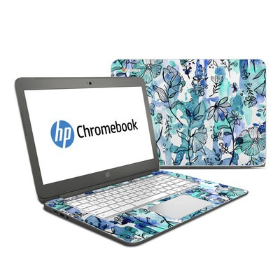 HP Chromebook 14 Skin - Blue Ink Floral