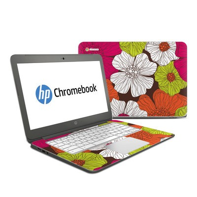 HP Chromebook 14 Skin - Brown Flowers