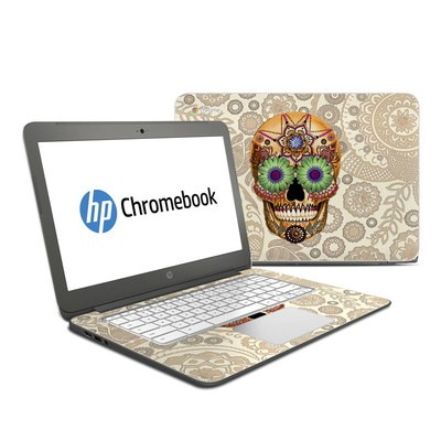 HP Chromebook 14 Skin - Sugar Skull Bone