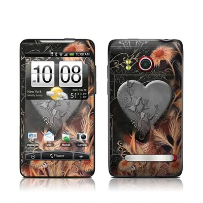 HTC Evo Skin - Black Lace Flower