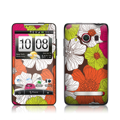 HTC Evo Skin - Brown Flowers