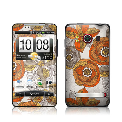 HTC Evo Skin - Orange and Grey Flowers