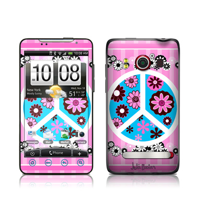 HTC Evo Skin - Peace Flowers Pink