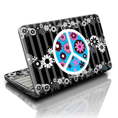 HP Mini Skin - Peace Flowers Black