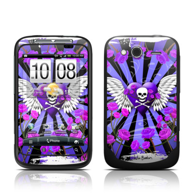 HTC Wildfire S Skin - Skull & Roses Purple