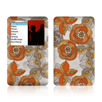 iPod Classic Skin - Orange and Grey Flowers