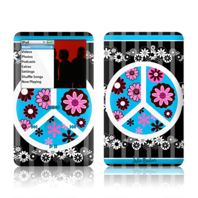 iPod Classic Skin - Peace Flowers Black