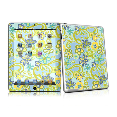 iPad 2 Skin - Hippie Flowers Blue