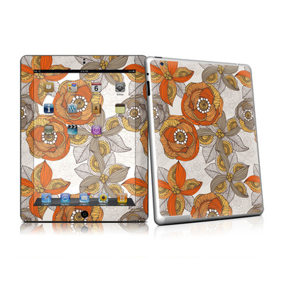 iPad 2 Skin - Orange and Grey Flowers