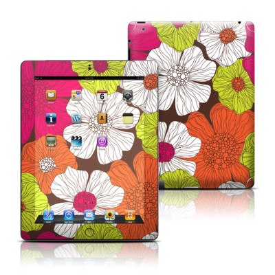 Apple iPad 3 Skin - Brown Flowers