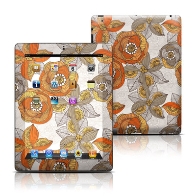 Apple iPad 3 Skin - Orange and Grey Flowers