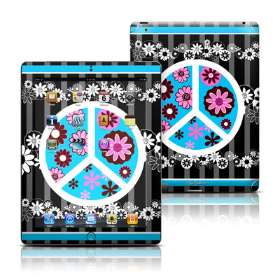 Apple iPad 3 Skin - Peace Flowers Black