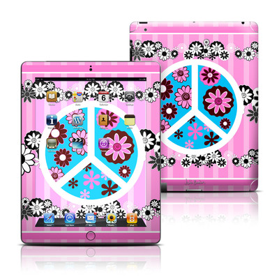 Apple iPad 3 Skin - Peace Flowers Pink