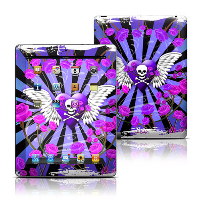 Apple iPad 3 Skin - Skull & Roses Purple