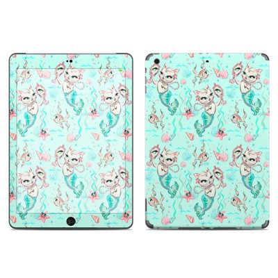 Apple iPad Air Skin - Merkittens with Pearls Aqua