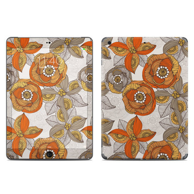 Apple iPad Air Skin - Orange and Grey Flowers