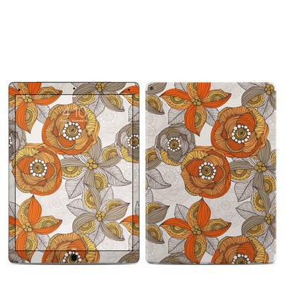 Apple iPad Pro Skin - Orange and Grey Flowers