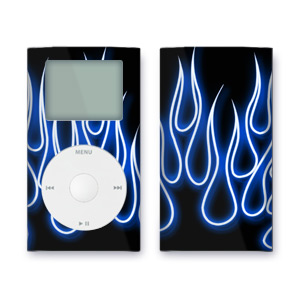 iPod mini Skin - Blue Neon Flames