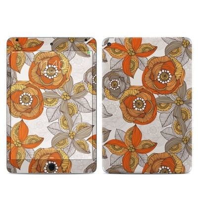 Apple iPad Mini 4 Skin - Orange and Grey Flowers