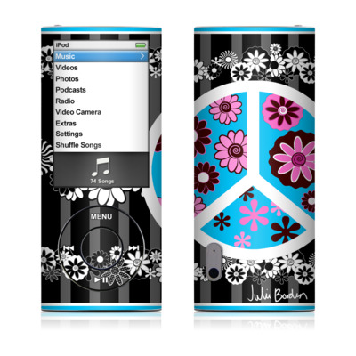 iPod nano (5G) Skin - Peace Flowers Black