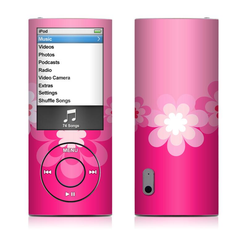 ipod nano 5g skin retro pink flowers decalgirl. Black Bedroom Furniture Sets. Home Design Ideas