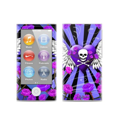 Apple iPod Nano (7G) Skin - Skull & Roses Purple