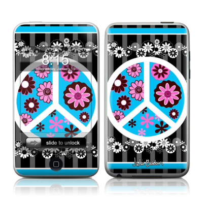 iPod Touch Skin - Peace Flowers Black