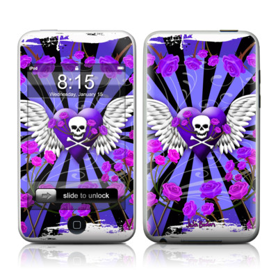 iPod Touch Skin - Skull & Roses Purple