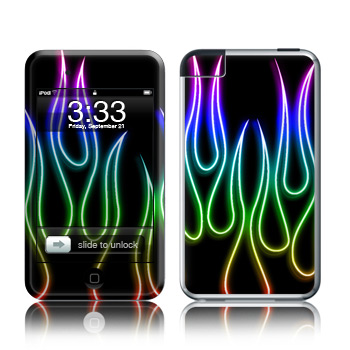 iPod Touch Skin - Rainbow Neon Flames