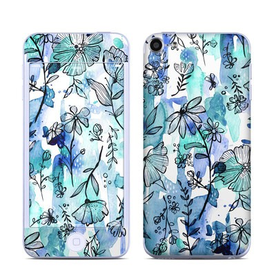 Apple iPod Touch 6G Skin - Blue Ink Floral