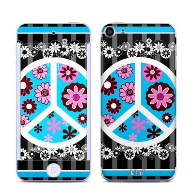 Apple iPod Touch 6G Skin - Peace Flowers Black