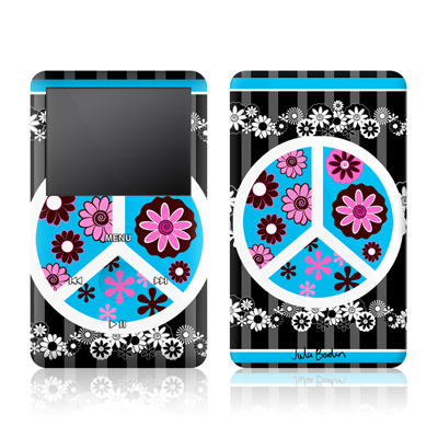 iPod Video (5G) Skin - Peace Flowers Black