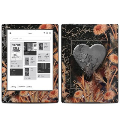 Kobo Aura H20 Skin - Black Lace Flower