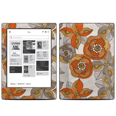 Kobo Aura H20 Skin - Orange and Grey Flowers