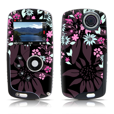 Kodak Playsport Zx3 Skin - Dark Flowers