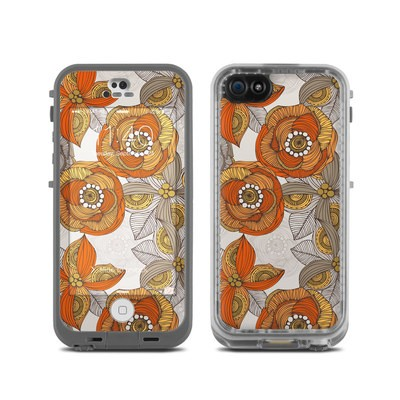 LifeProof iPhone 5C Fre Case Skin - Orange and Grey Flowers
