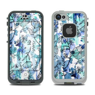 Lifeproof iPhone 5S Fre Case Skin - Blue Ink Floral