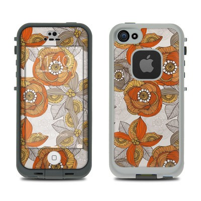 LifeProof iPhone 5S Fre Case Skin - Orange and Grey Flowers