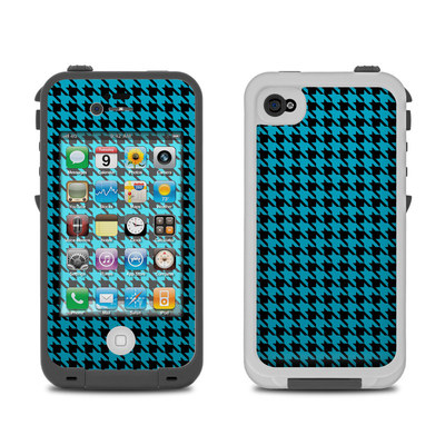 Lifeproof iPhone 4 Case Skin - Teal Houndstooth