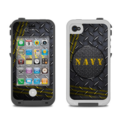 Lifeproof iPhone 4 Case Skin - Navy Diamond Plate