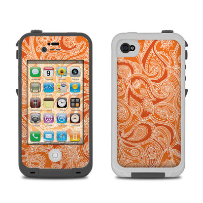 Lifeproof iPhone 4 Case Skin - Paisley In Orange