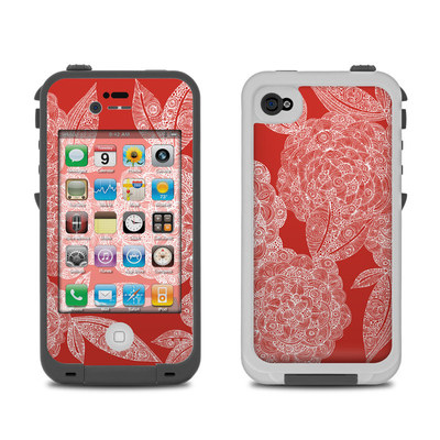 Lifeproof iPhone 4 Case Skin - Red Dahlias