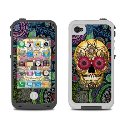 Lifeproof iPhone 4 Case Skin - Sugar Skull Paisley