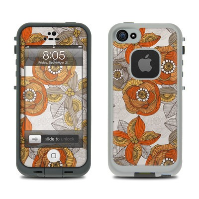 Lifeproof iPhone 5 Case Skin - Orange and Grey Flowers