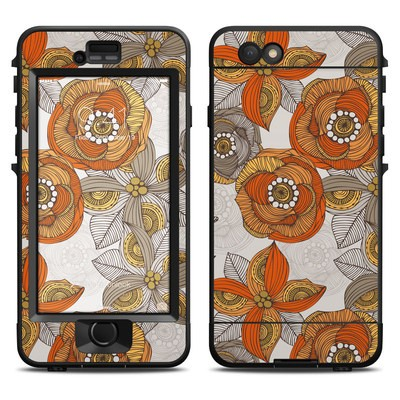 Lifeproof iPhone 6 Nuud Case Skin - Orange and Grey Flowers