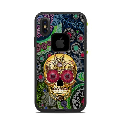 Lifeproof iPhone X Fre Case Skin - Sugar Skull Paisley