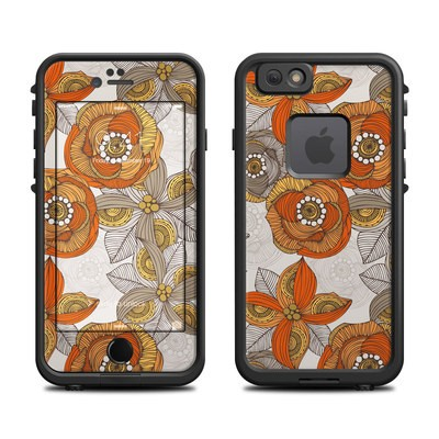 Lifeproof iPhone 6 Fre Case Skin - Orange and Grey Flowers
