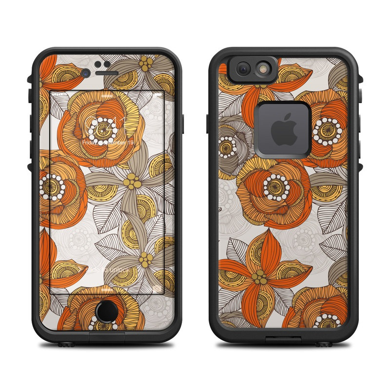 Lifeproof Iphone 6 Fre Case Skin Orange And Grey Flowers