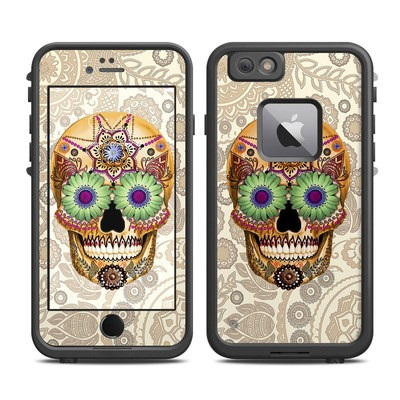 Lifeproof iPhone 6 Plus Fre Case Skin - Sugar Skull Bone